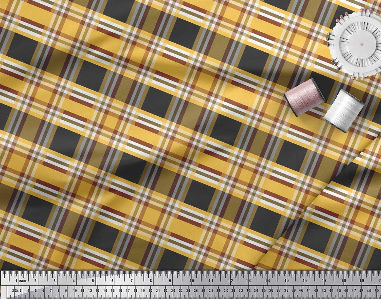 Soimoi-Black-Cotton-Poplin-Fabric-Check-Check-Print-Fabric-by-metre-I97 thumbnail 3
