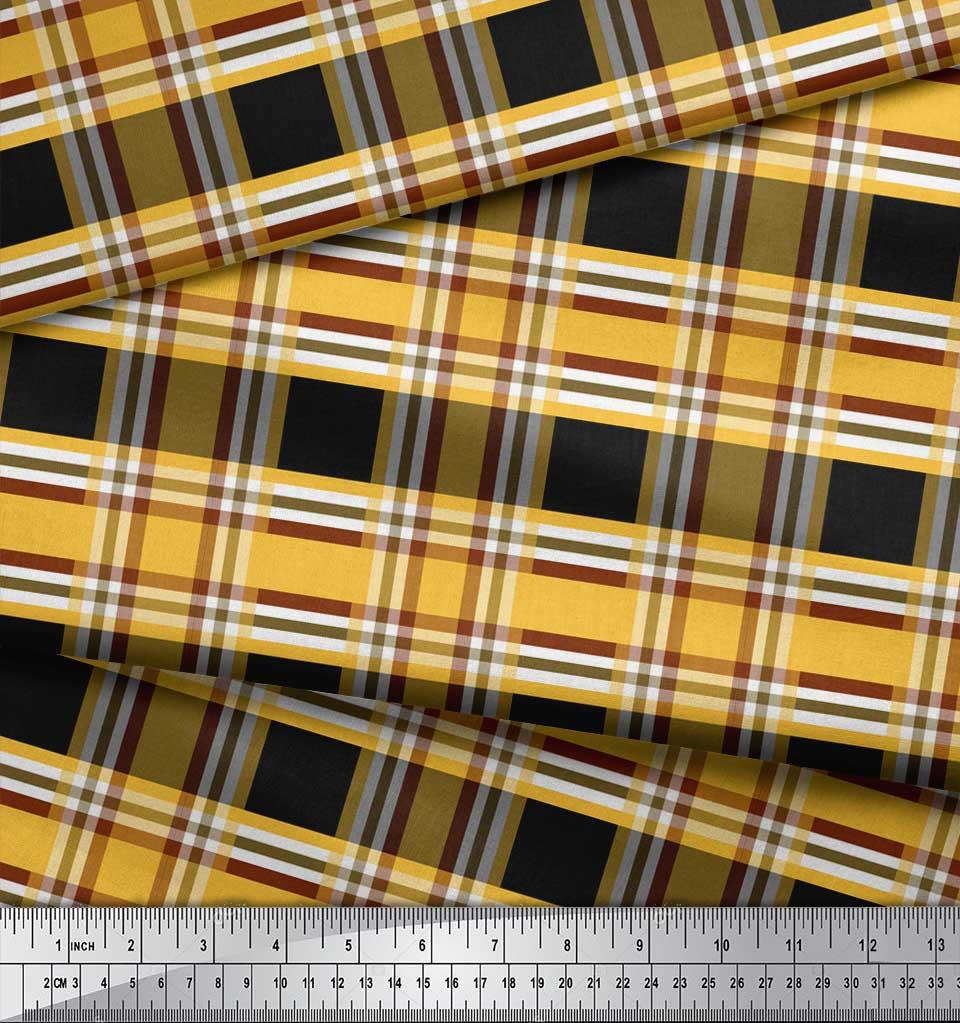 Soimoi-Black-Cotton-Poplin-Fabric-Check-Check-Print-Fabric-by-metre-I97 thumbnail 4