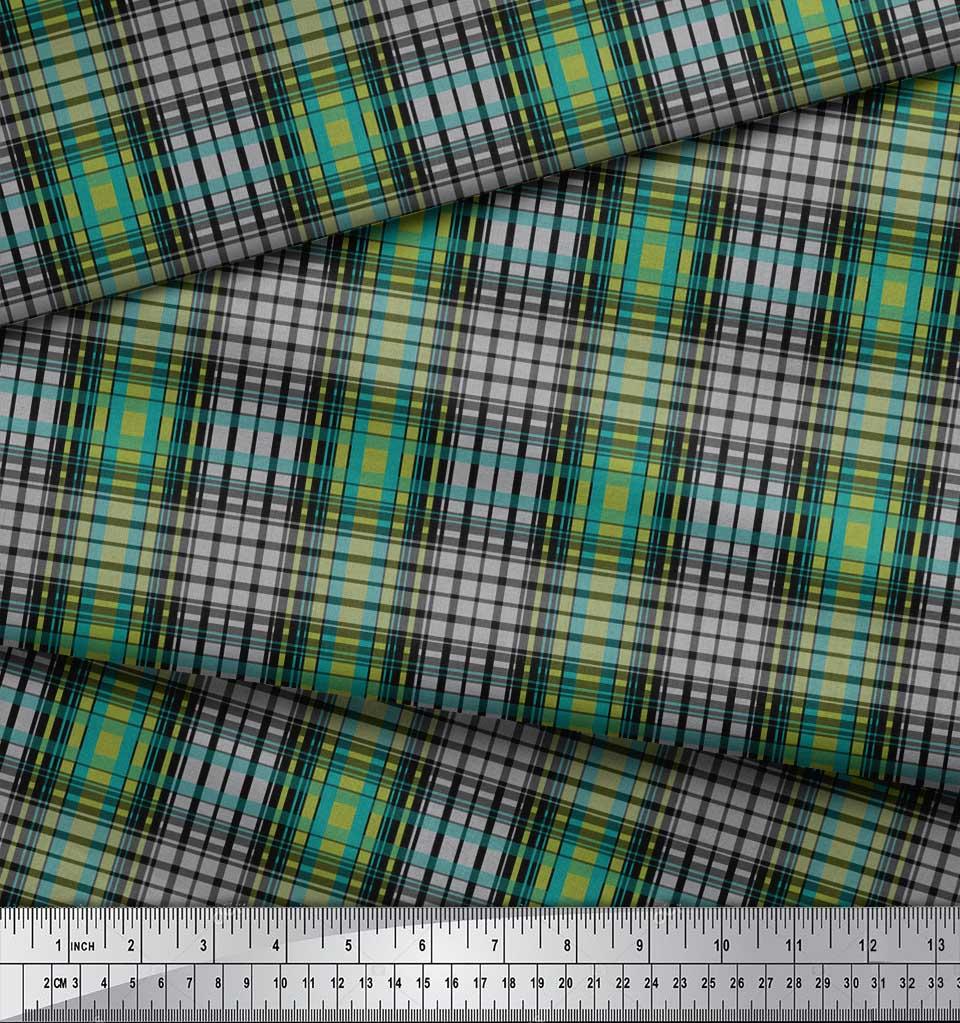 Soimoi-Green-Cotton-Poplin-Fabric-Check-Check-Print-Sewing-Fabric-Xb3 thumbnail 3