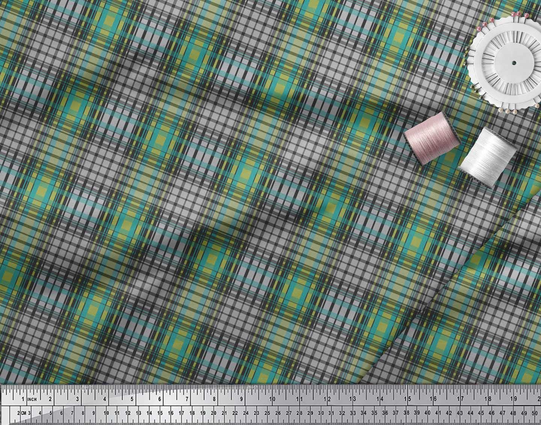 Soimoi-Green-Cotton-Poplin-Fabric-Check-Check-Print-Sewing-Fabric-Xb3 thumbnail 4