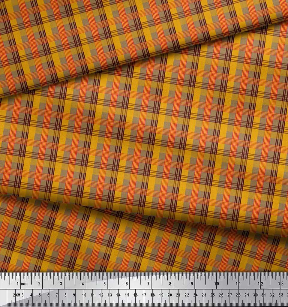 Soimoi-Brown-Cotton-Poplin-Fabric-Check-Check-Print-Fabric-by-the-Wxy thumbnail 3