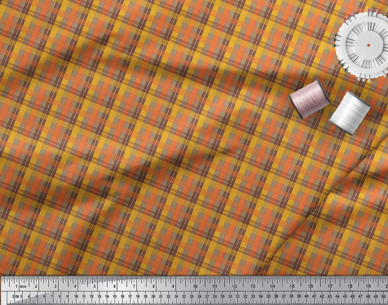 Soimoi-Brown-Cotton-Poplin-Fabric-Check-Check-Print-Fabric-by-the-Wxy thumbnail 4