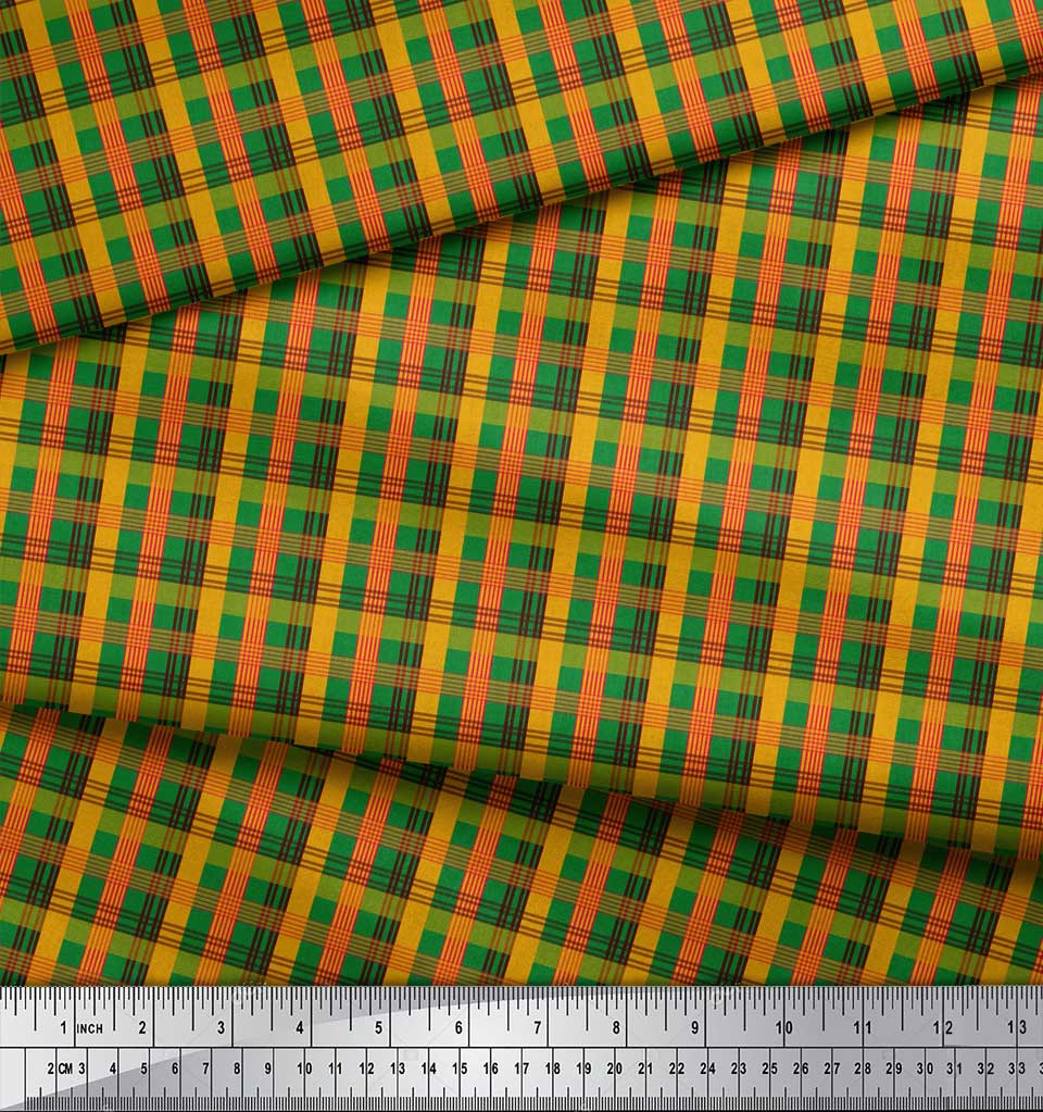 Soimoi-Green-Cotton-Poplin-Fabric-Check-Check-Print-Sewing-Fabric-owd thumbnail 3