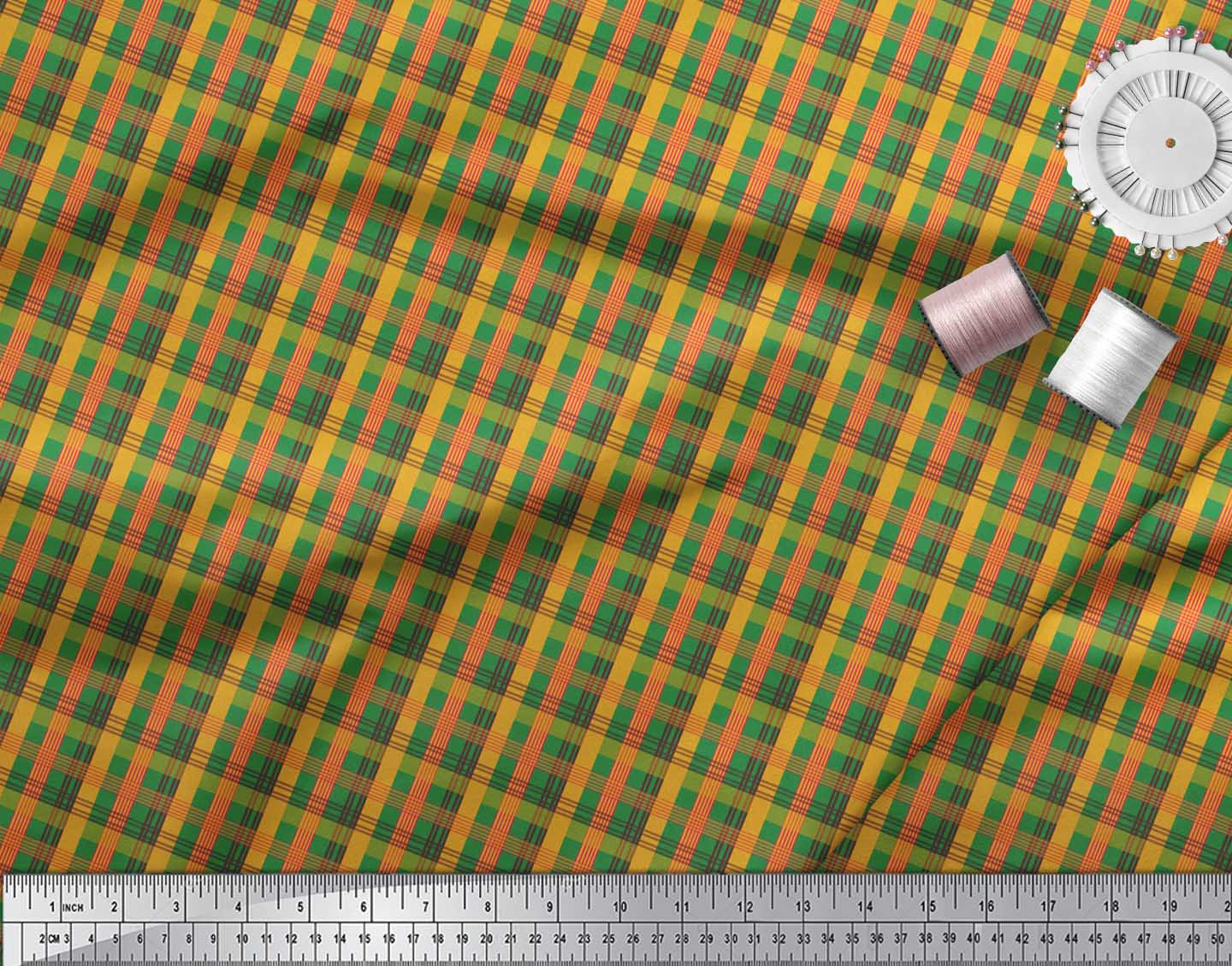 Soimoi-Green-Cotton-Poplin-Fabric-Check-Check-Print-Sewing-Fabric-owd thumbnail 4