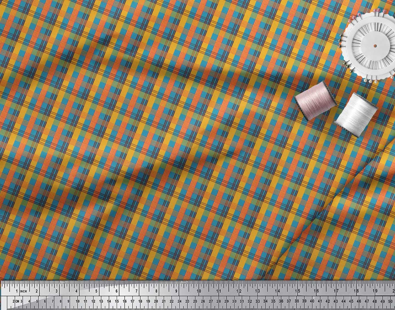 Soimoi-Blue-Cotton-Poplin-Fabric-Check-Check-Printed-Craft-Fabric-Nld thumbnail 3