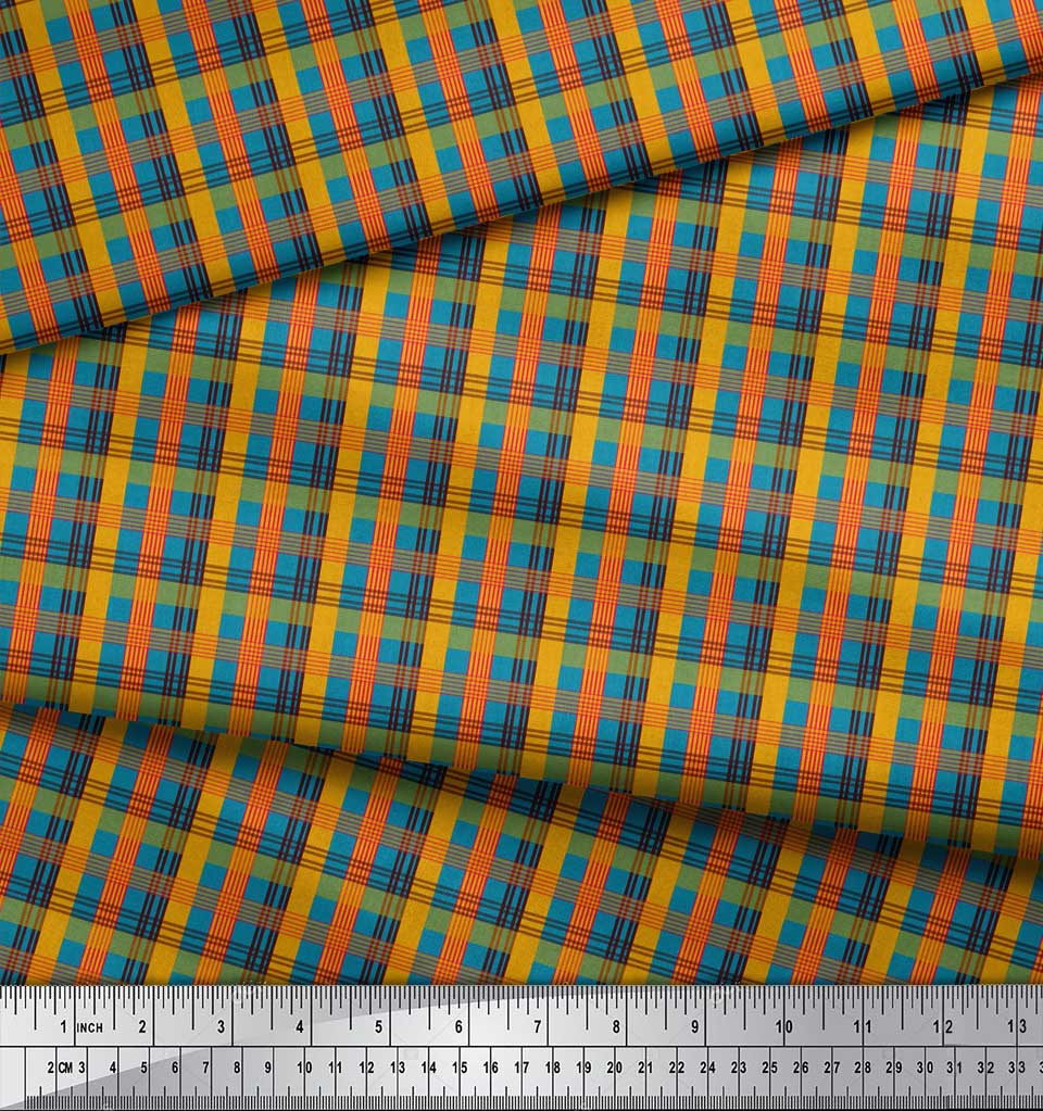 Soimoi-Blue-Cotton-Poplin-Fabric-Check-Check-Printed-Craft-Fabric-Nld thumbnail 4