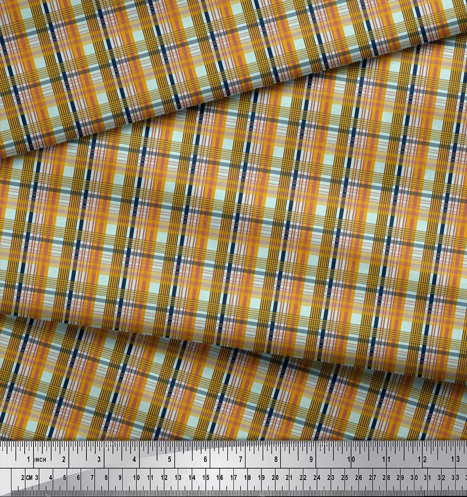 Soimoi-Green-Cotton-Poplin-Fabric-Check-Check-Print-Fabric-by-the-sTk thumbnail 3