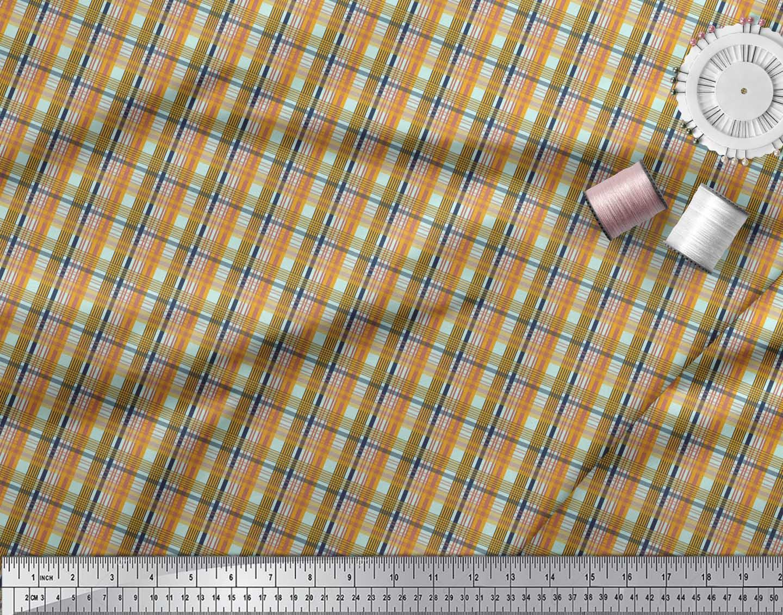 Soimoi-Green-Cotton-Poplin-Fabric-Check-Check-Print-Fabric-by-the-sTk thumbnail 4