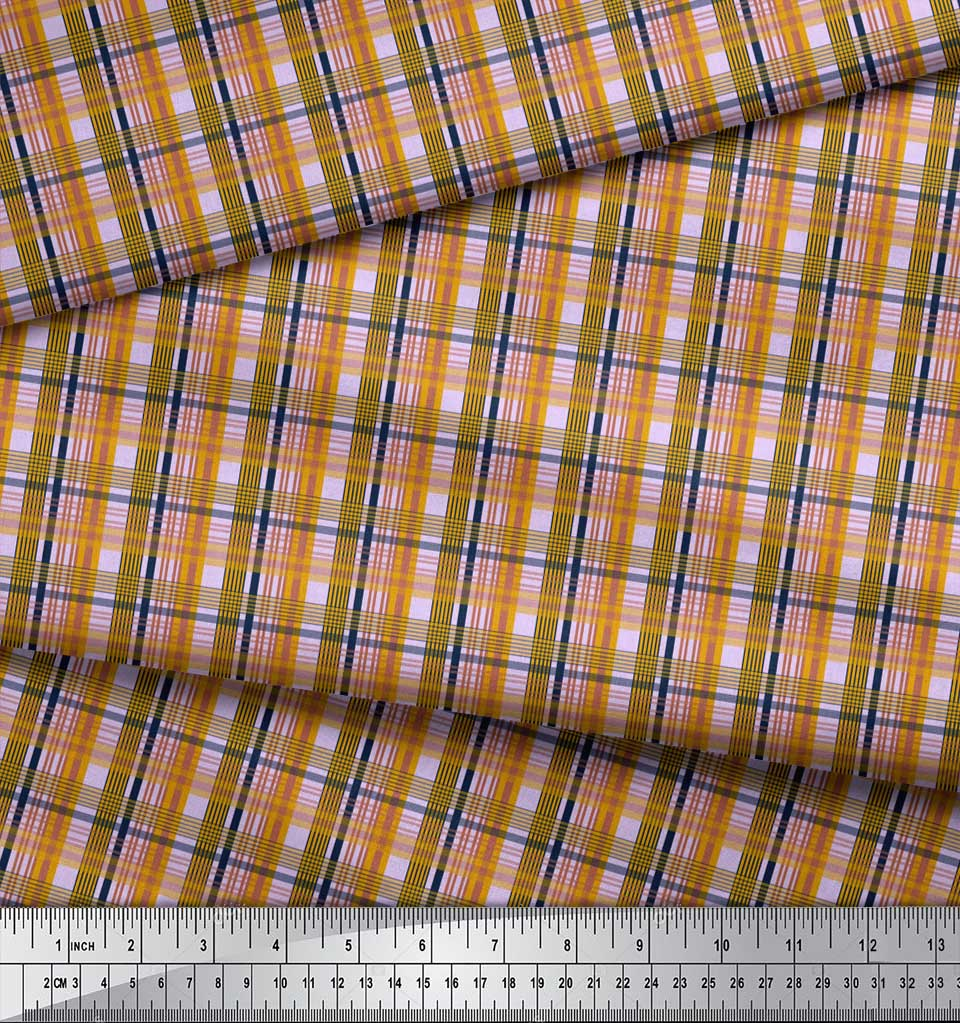 Soimoi-Purple-Cotton-Poplin-Fabric-Check-Check-Print-Sewing-Fabric-e5v thumbnail 3