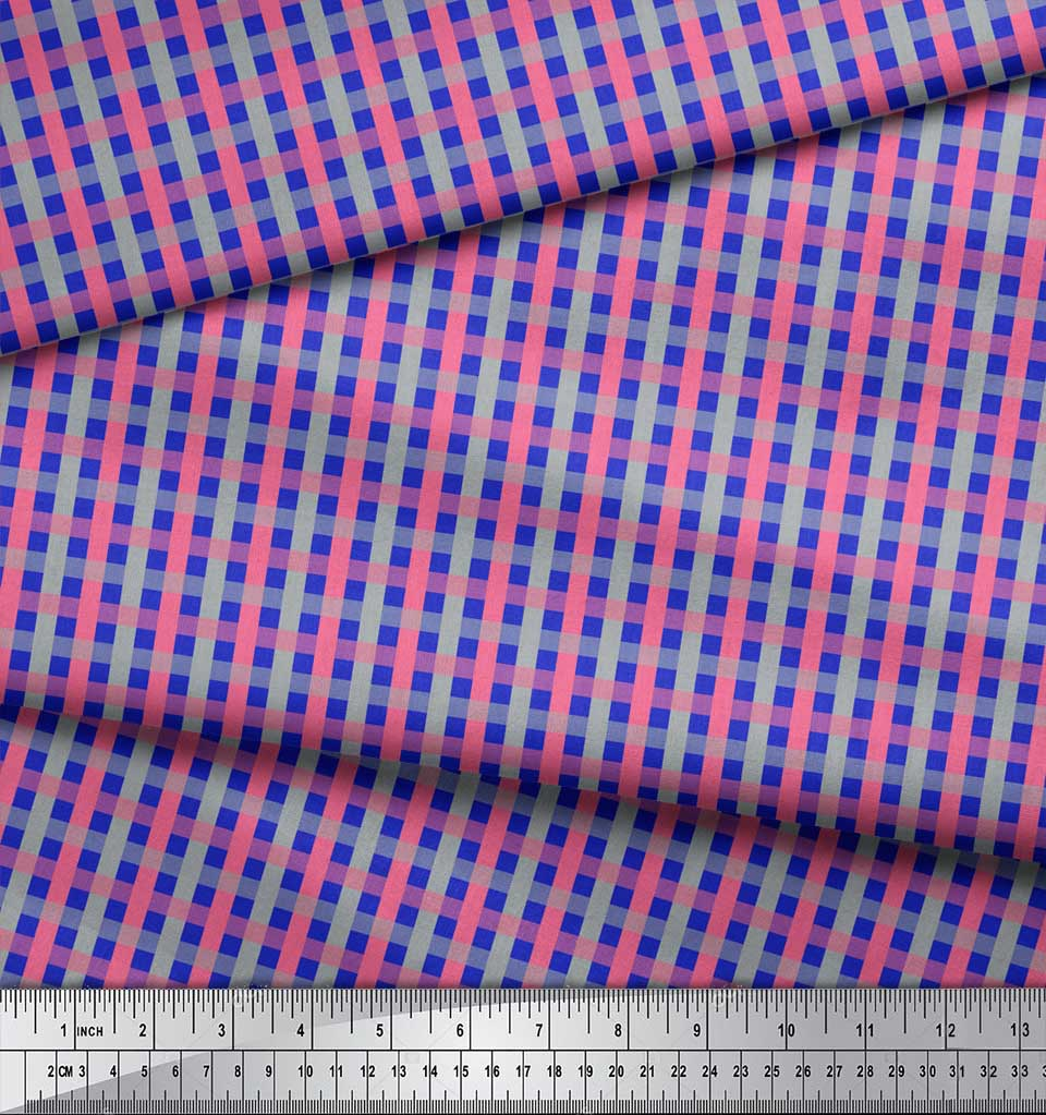 Soimoi-Blue-Cotton-Poplin-Fabric-Check-Check-Fabric-Prints-By-metre-YeQ thumbnail 3