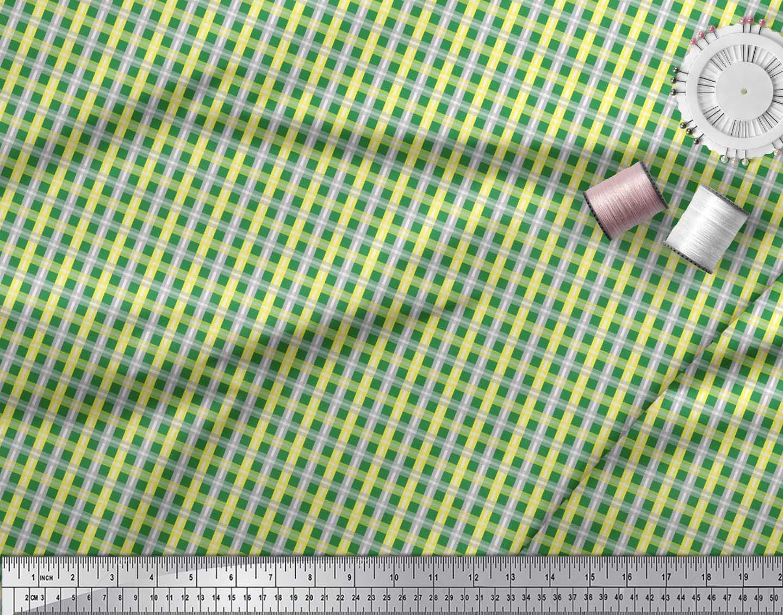 Soimoi-Green-Cotton-Poplin-Fabric-Check-Check-Print-Sewing-Fabric-BMU thumbnail 3