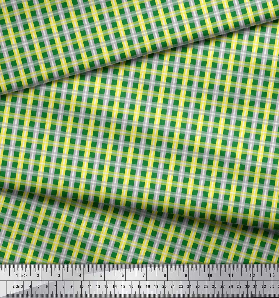 Soimoi-Green-Cotton-Poplin-Fabric-Check-Check-Print-Sewing-Fabric-BMU thumbnail 4