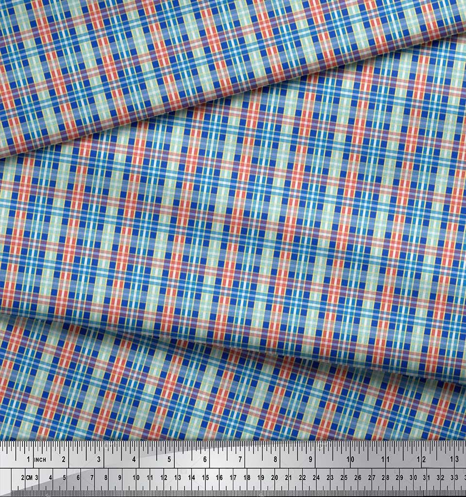 Soimoi-Blue-Cotton-Poplin-Fabric-Check-Check-Print-Fabric-by-the-0OV thumbnail 3