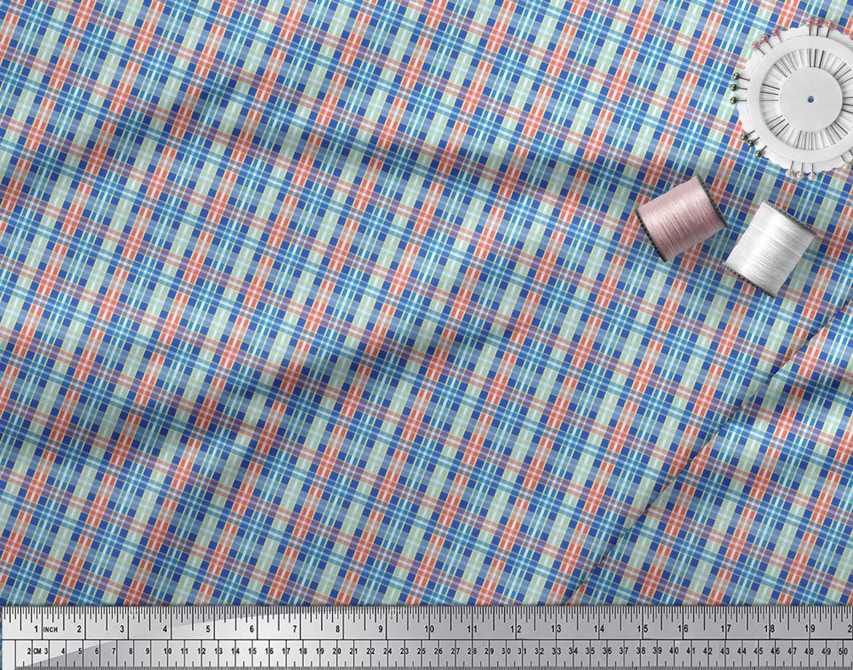 Soimoi-Blue-Cotton-Poplin-Fabric-Check-Check-Print-Fabric-by-the-0OV thumbnail 4