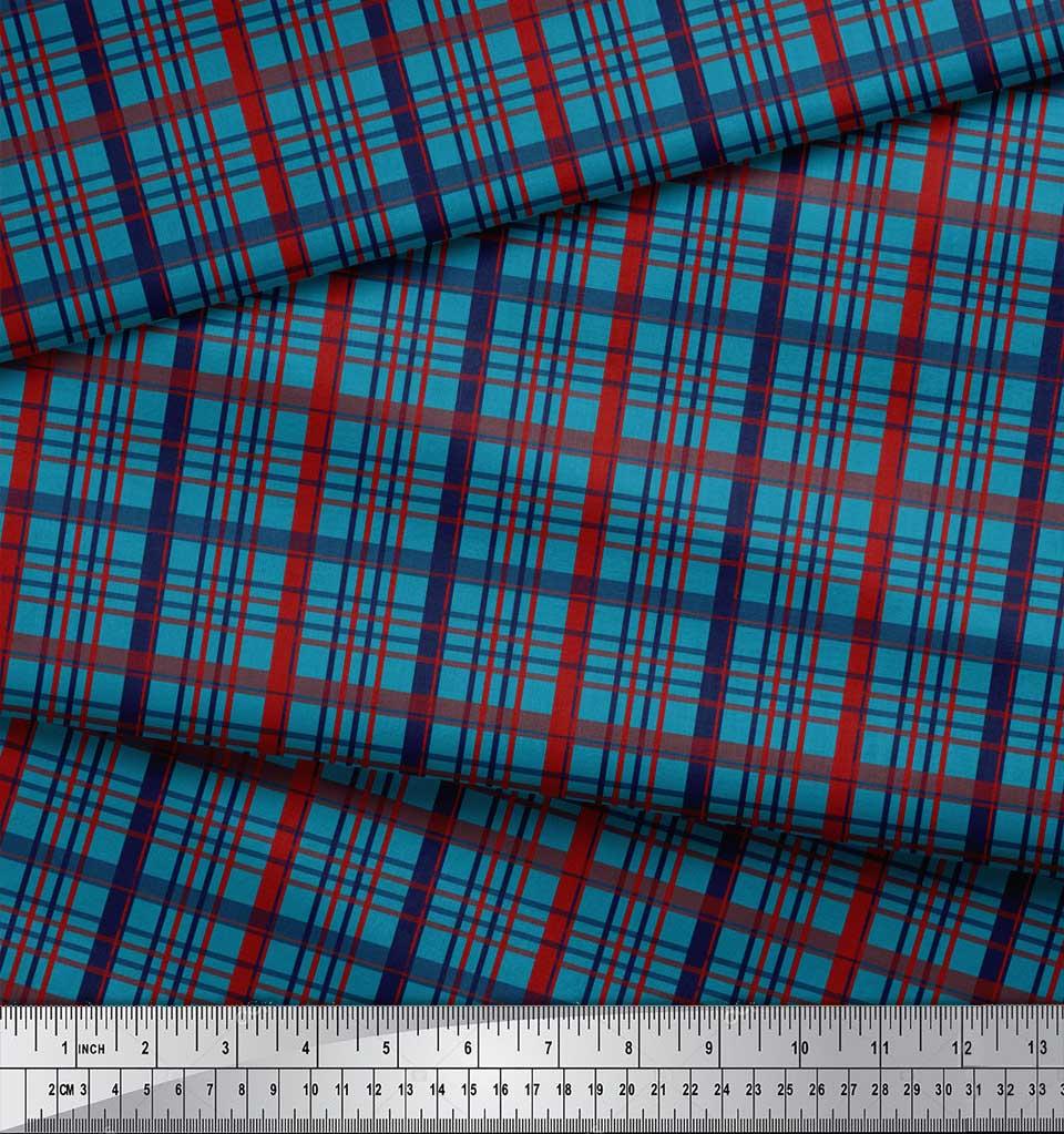 Soimoi-Blue-Cotton-Poplin-Fabric-Check-Check-Fabric-Prints-By-metre-37L thumbnail 4