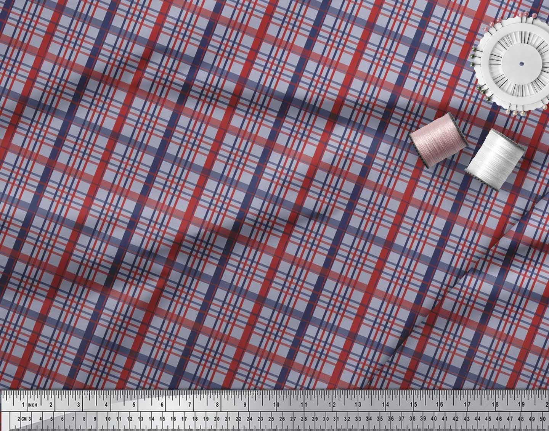 Soimoi-Grey-Cotton-Poplin-Fabric-Check-Check-Printed-Craft-Fabric-A7y thumbnail 3