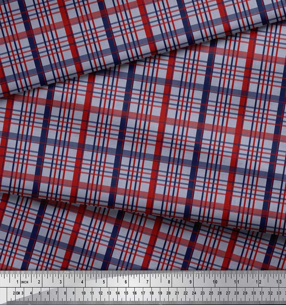 Soimoi-Grey-Cotton-Poplin-Fabric-Check-Check-Printed-Craft-Fabric-A7y thumbnail 4