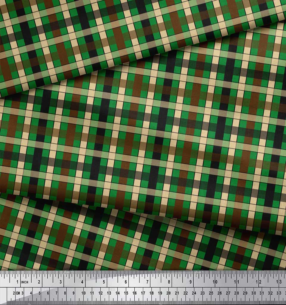 Soimoi-Green-Cotton-Poplin-Fabric-Check-Check-Print-Sewing-Fabric-sno thumbnail 3