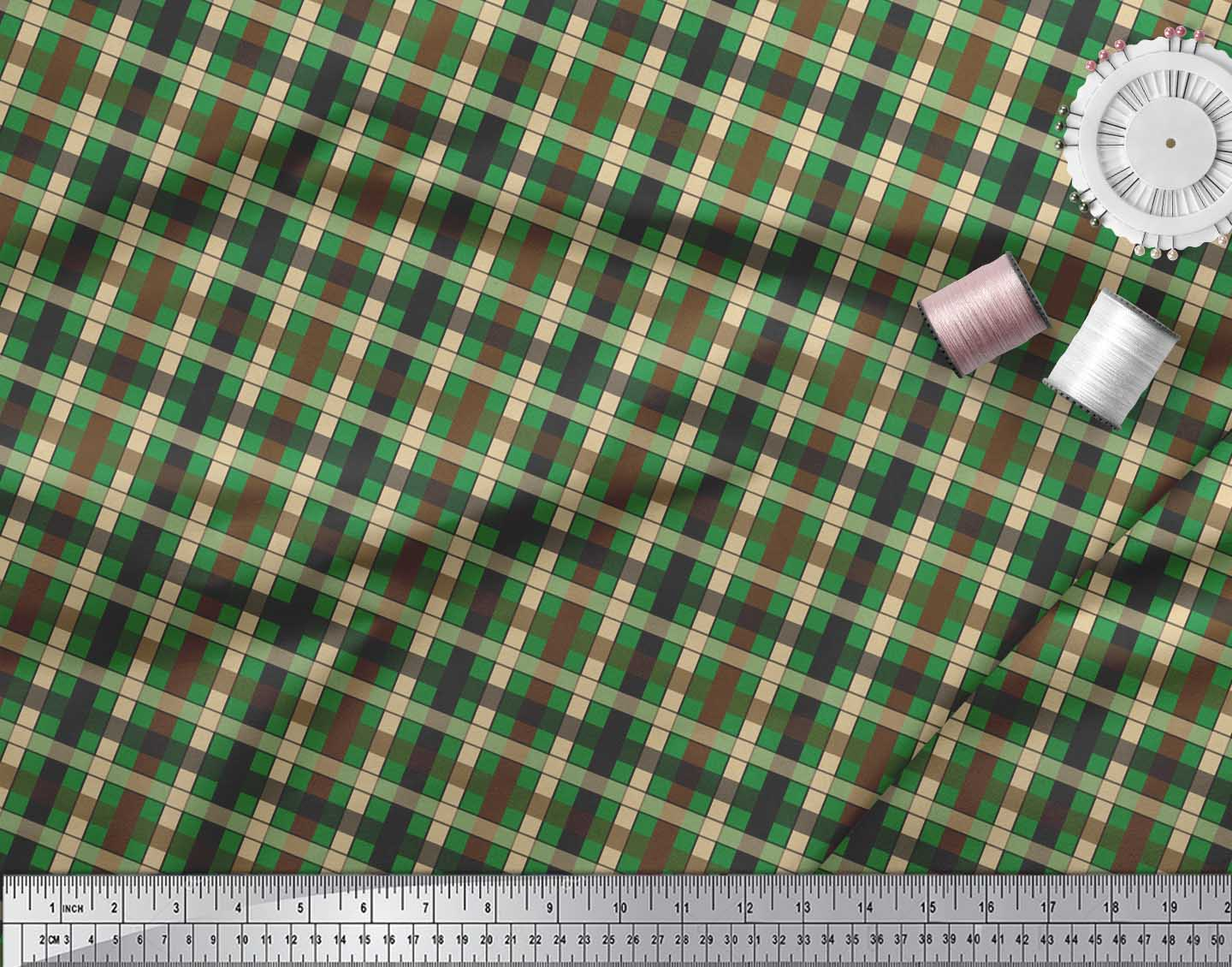 Soimoi-Green-Cotton-Poplin-Fabric-Check-Check-Print-Sewing-Fabric-sno thumbnail 4