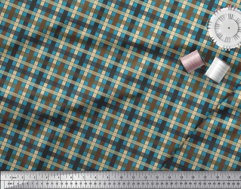 Soimoi-Blue-Cotton-Poplin-Fabric-Check-Check-Printed-Craft-Fabric-gw4 thumbnail 3
