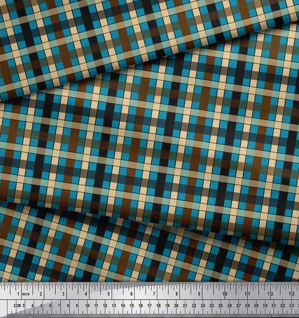 Soimoi-Blue-Cotton-Poplin-Fabric-Check-Check-Printed-Craft-Fabric-gw4 thumbnail 4