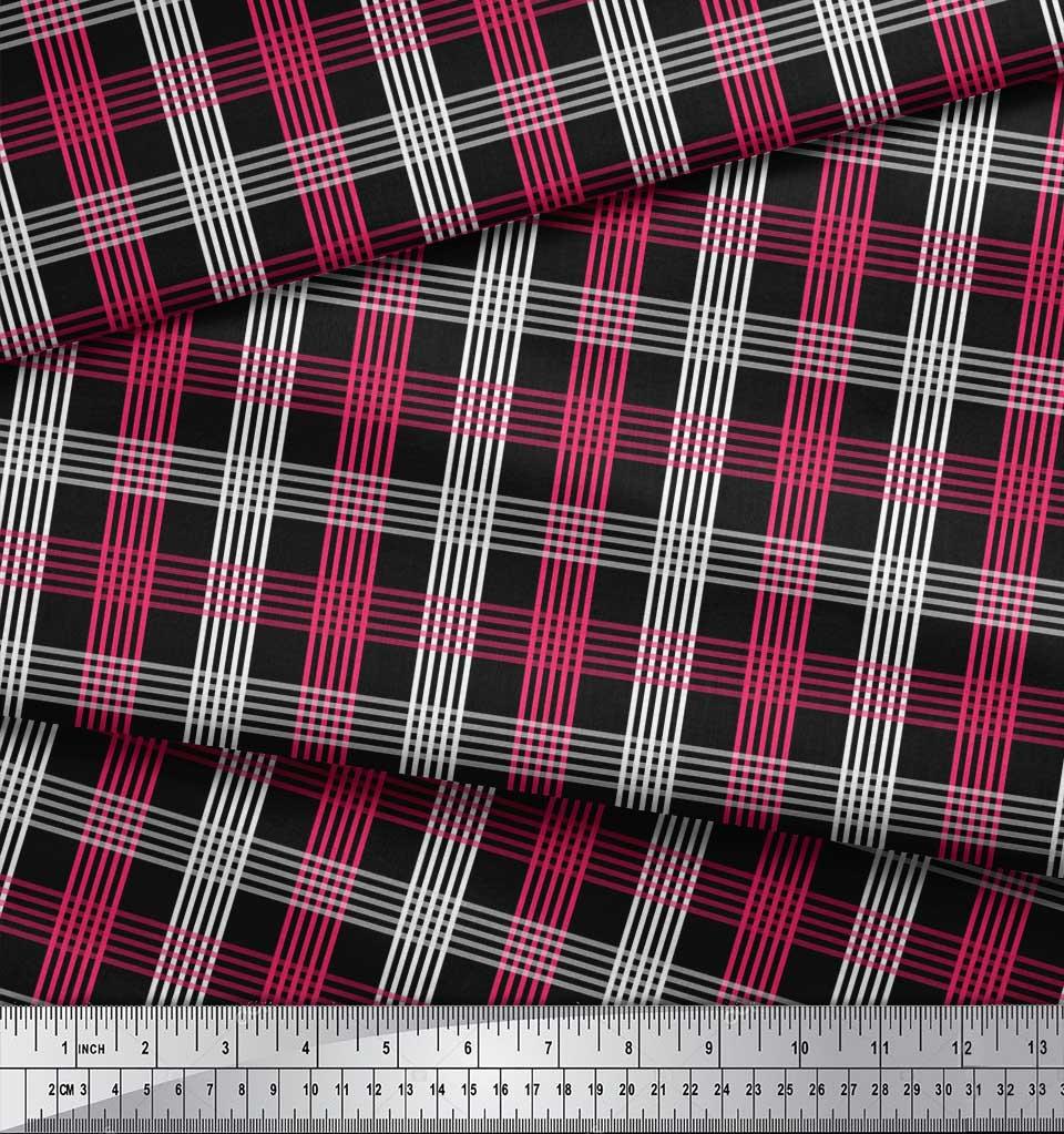 Soimoi-Black-Cotton-Poplin-Fabric-Check-Check-Print-Fabric-by-the-kip thumbnail 3
