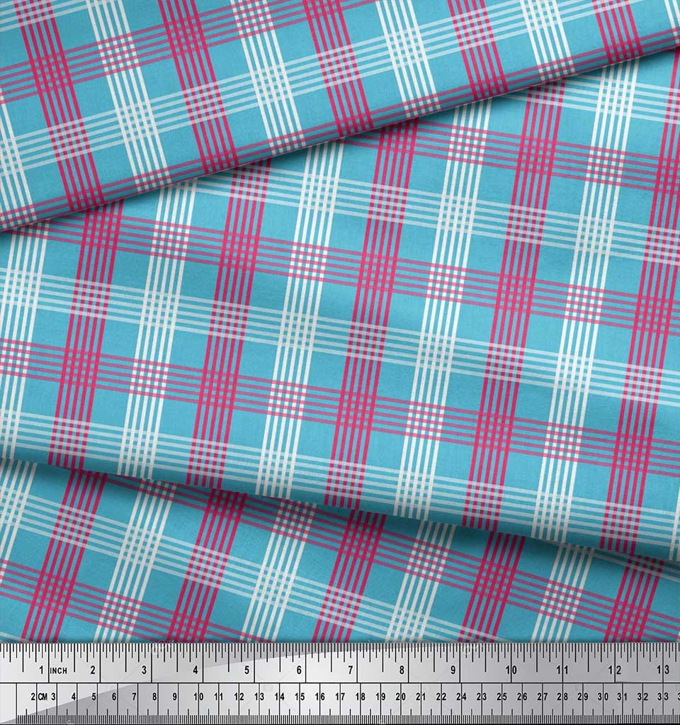 Soimoi-Blue-Cotton-Poplin-Fabric-Check-Check-Print-Fabric-by-the-86e thumbnail 3