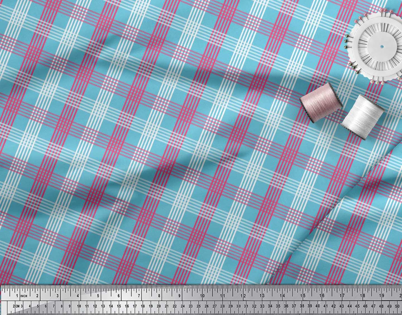 Soimoi-Blue-Cotton-Poplin-Fabric-Check-Check-Print-Fabric-by-the-86e thumbnail 4