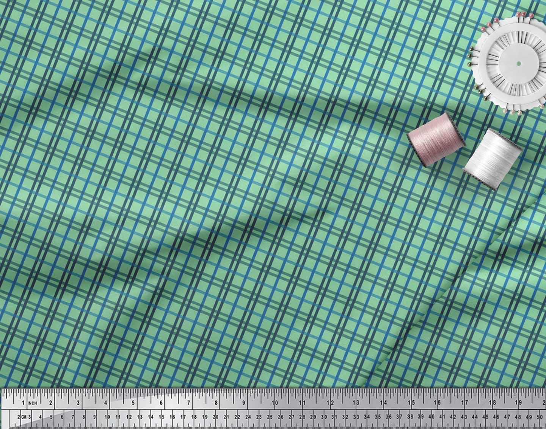 Soimoi-Green-Cotton-Poplin-Fabric-Check-Check-Printed-Fabric-1-metre-Zud thumbnail 3