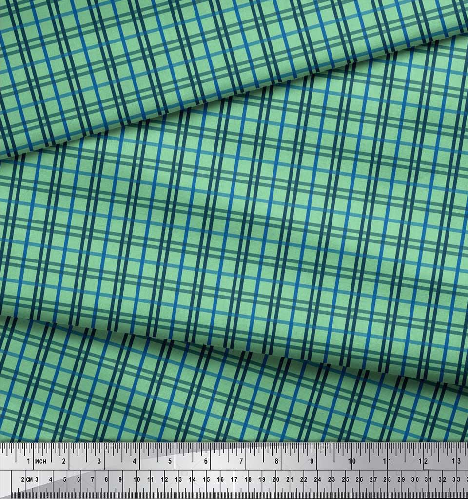 Soimoi-Green-Cotton-Poplin-Fabric-Check-Check-Printed-Fabric-1-metre-Zud thumbnail 4