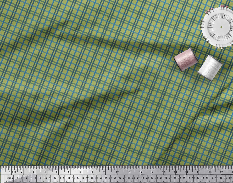 Soimoi-Green-Cotton-Poplin-Fabric-Check-Check-Decor-Fabric-Printed-Prj thumbnail 3