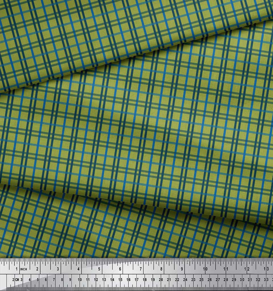 Soimoi-Green-Cotton-Poplin-Fabric-Check-Check-Decor-Fabric-Printed-Prj thumbnail 4