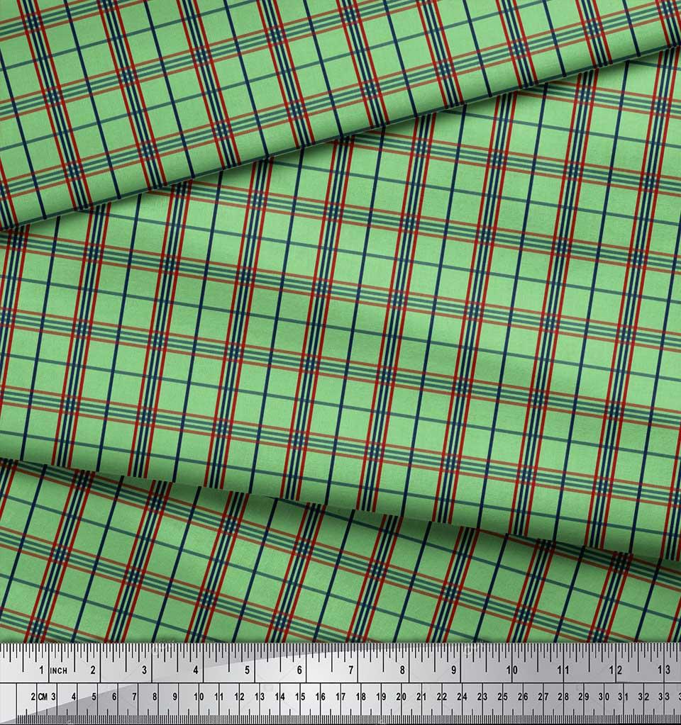 Soimoi-Green-Cotton-Poplin-Fabric-Check-Check-Print-Fabric-by-the-Eme thumbnail 3
