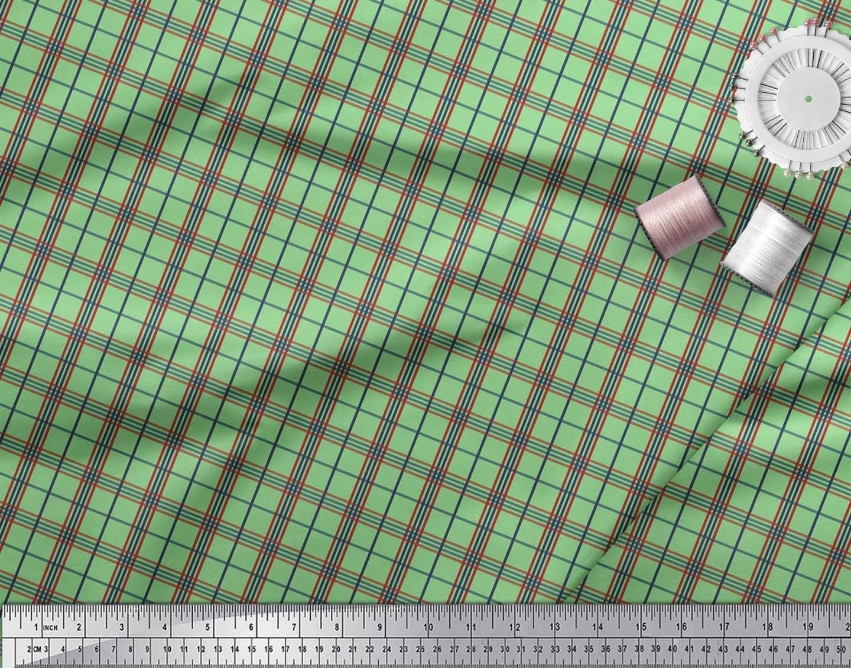 Soimoi-Green-Cotton-Poplin-Fabric-Check-Check-Print-Fabric-by-the-Eme thumbnail 4