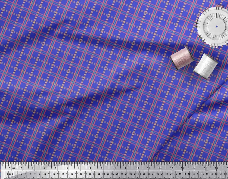Soimoi-Blue-Cotton-Poplin-Fabric-Check-Check-Decor-Fabric-Printed-adk thumbnail 3