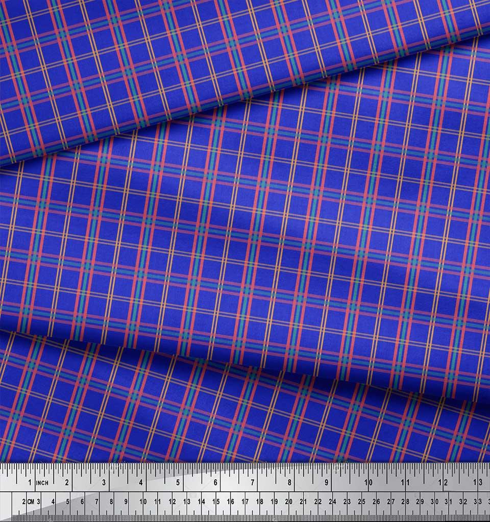 Soimoi-Blue-Cotton-Poplin-Fabric-Check-Check-Decor-Fabric-Printed-adk thumbnail 4