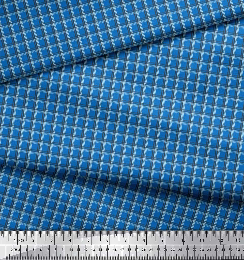 Soimoi-Blue-Cotton-Poplin-Fabric-Check-Check-Fabric-Prints-By-metre-bcA thumbnail 3