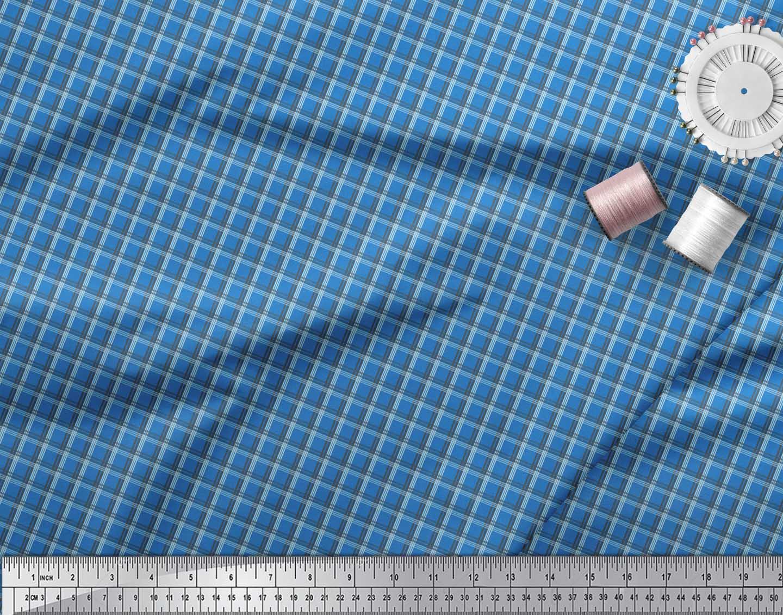 Soimoi-Blue-Cotton-Poplin-Fabric-Check-Check-Fabric-Prints-By-metre-bcA thumbnail 4