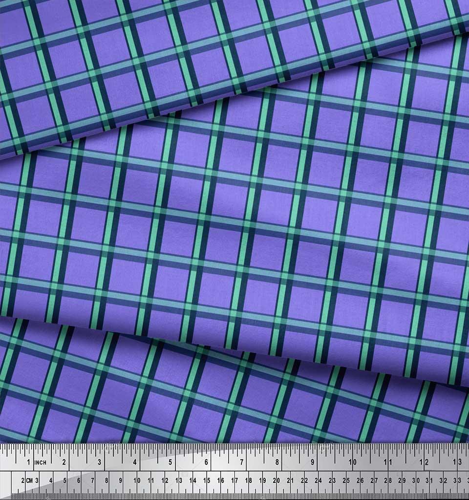 Soimoi-Purple-Cotton-Poplin-Fabric-Check-Check-Print-Sewing-Fabric-ypf thumbnail 3