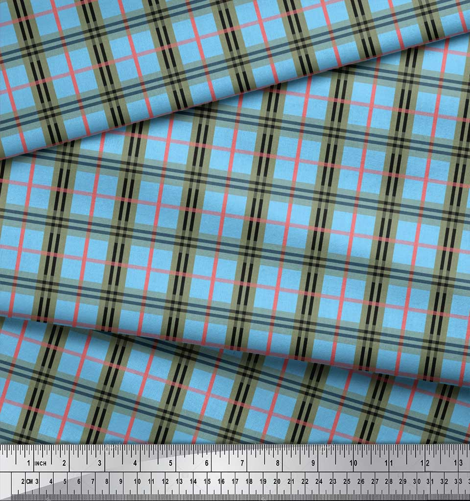 Soimoi-Blue-Cotton-Poplin-Fabric-Check-Check-Printed-Craft-Fabric-VDq thumbnail 3