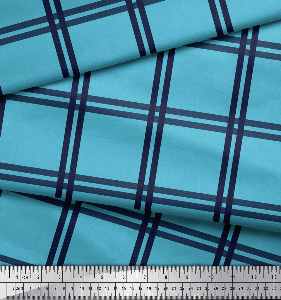 Soimoi-Blue-Cotton-Poplin-Fabric-Check-Check-Printed-Fabric-1-metre-IpY thumbnail 3