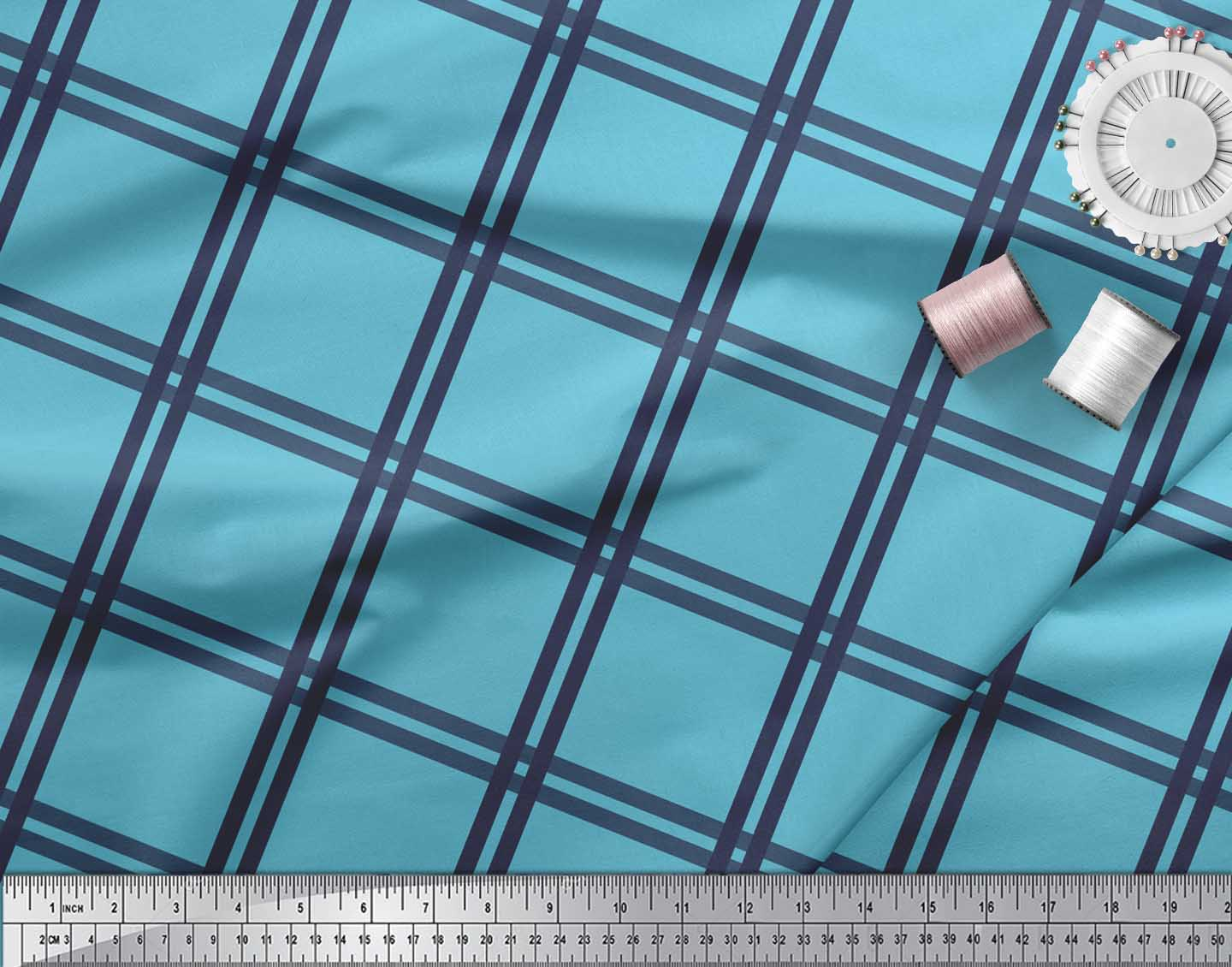 Soimoi-Blue-Cotton-Poplin-Fabric-Check-Check-Printed-Fabric-1-metre-IpY thumbnail 4