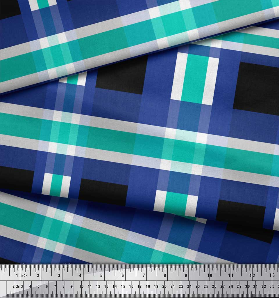 Soimoi-Black-Cotton-Poplin-Fabric-Check-Check-Print-Fabric-by-the-mSl thumbnail 3