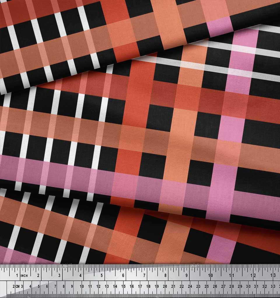 Soimoi-Black-Cotton-Poplin-Fabric-Check-Check-Print-Sewing-Fabric-Ss6 thumbnail 3