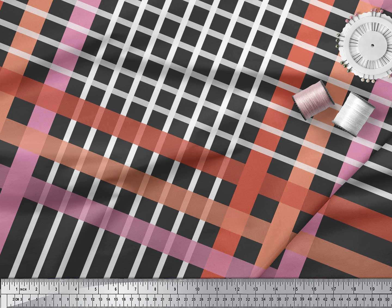 Soimoi-Black-Cotton-Poplin-Fabric-Check-Check-Print-Sewing-Fabric-Ss6 thumbnail 4