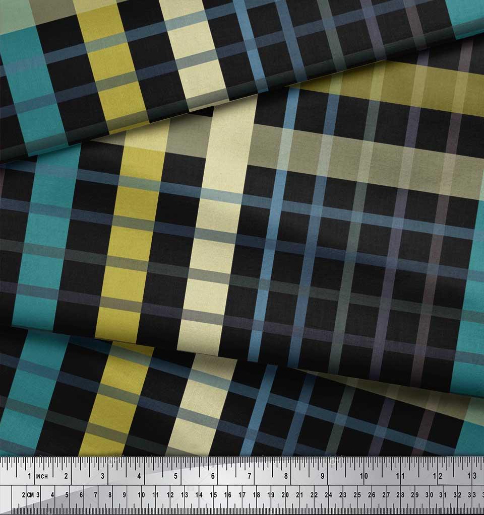 Soimoi-Black-Cotton-Poplin-Fabric-Check-Check-Print-Fabric-by-Yard-Gao thumbnail 3