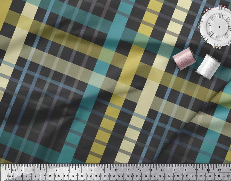 Soimoi-Black-Cotton-Poplin-Fabric-Check-Check-Print-Fabric-by-Yard-Gao thumbnail 4