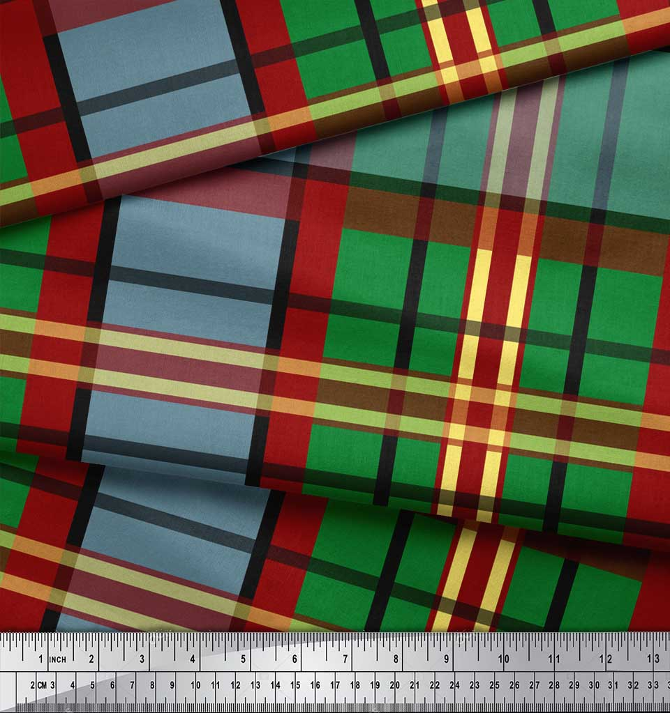 Soimoi-Green-Cotton-Poplin-Fabric-Check-Check-Printed-Fabric-1-metre-It2 thumbnail 4