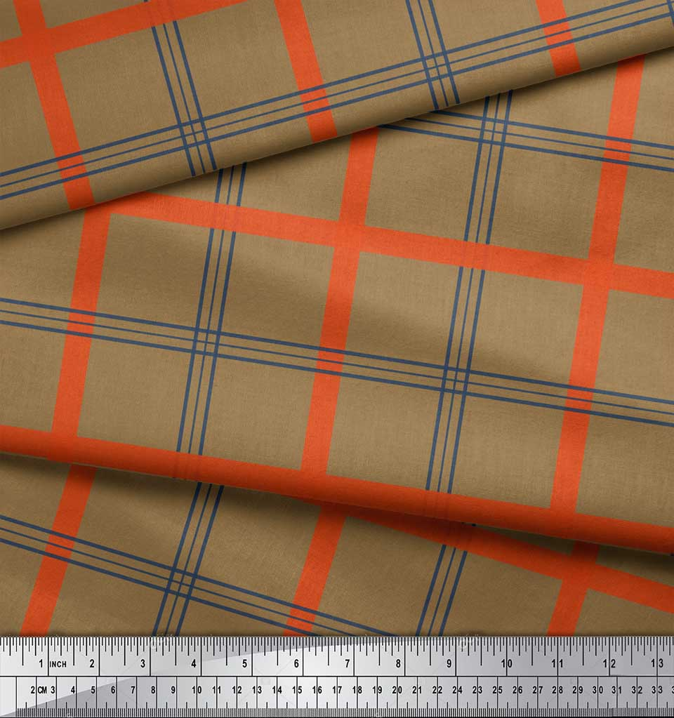 Soimoi-Brown-Cotton-Poplin-Fabric-Check-Check-Print-Fabric-by-the-YWr thumbnail 3