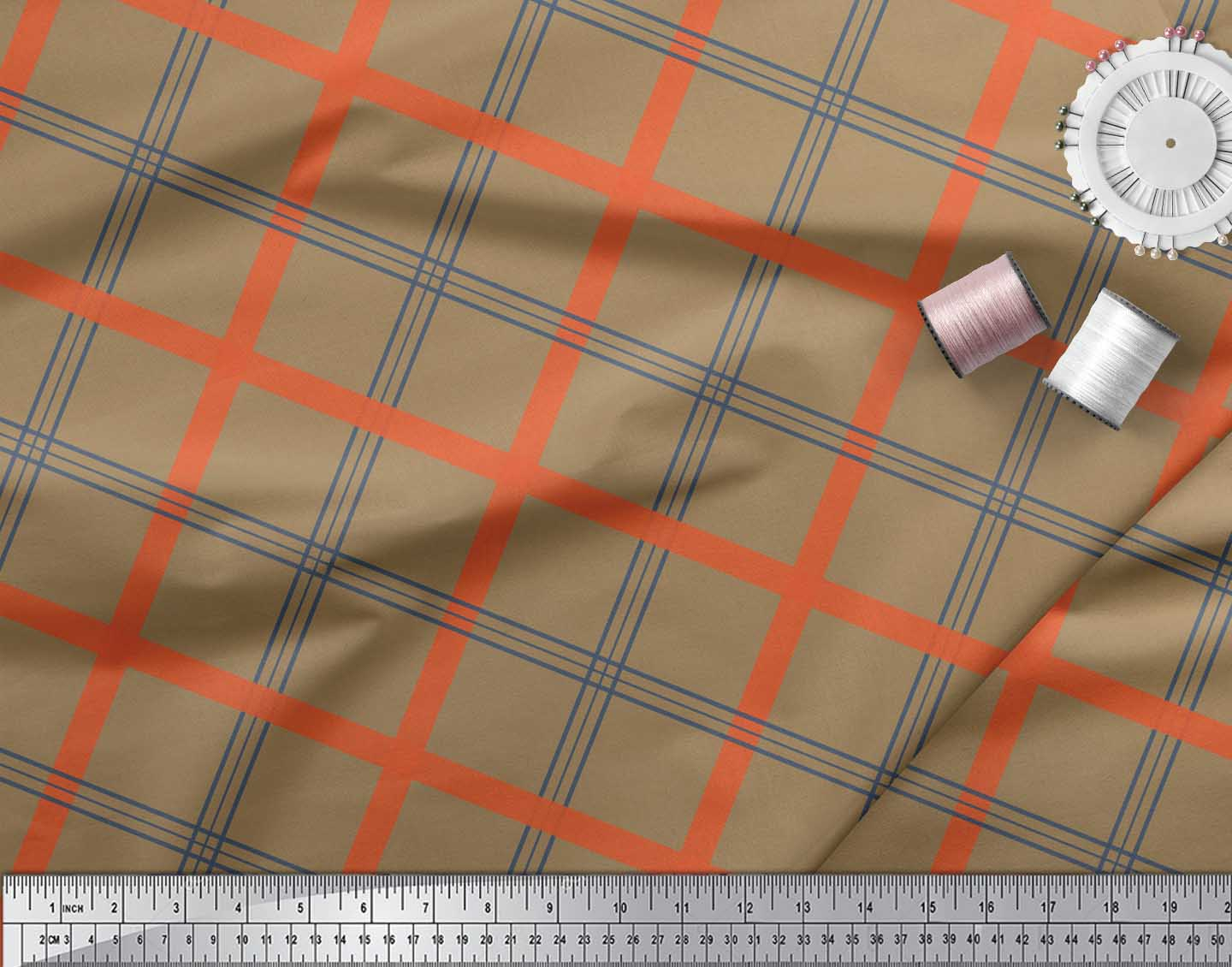 Soimoi-Brown-Cotton-Poplin-Fabric-Check-Check-Print-Fabric-by-the-YWr thumbnail 4